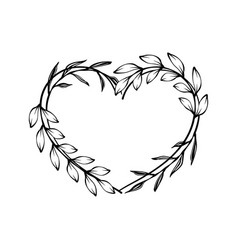 heart decorative floral frame with leaves vector image