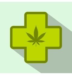 Hemp leaf with cross icon flat style vector