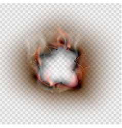 hole torn in ripped burnt and flame on transparent vector image