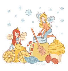 honey fairy christmas cartoon vector image