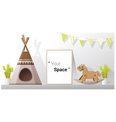 Interior poster mock up frame in child room vector