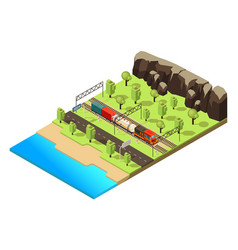 isometric railroad transportation concept vector image