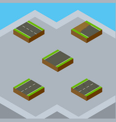 Isometric way set of driveway unilateral cracks vector