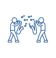 Jazz line icon concept flat symbol vector