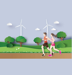 Jogging running couple urning vector