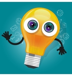 lamp bulb light cartoon character mascot face vector image