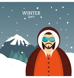 Man winter sport with glasses jacket and mountains vector