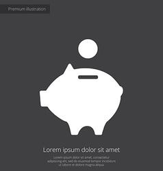moneybox piggy premium icon white on dark backgrou vector image