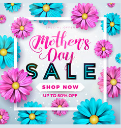 Mothers day sale greeting card design with flower vector
