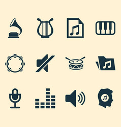 music icons set collection of sound octave mike vector image