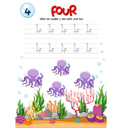 Number four tracing worksheets vector