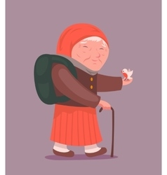 Old Lady Adult Traveler Cartoon Design Character vector
