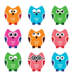 Owl cartoon icons set vector image