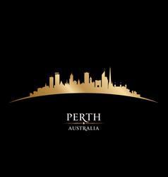 Perth australia city silhouette black background vector