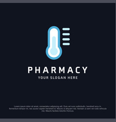 Pharmacy logo design with typography and dark vector