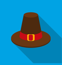 Pilgrim hat icon in flate style isolated on white vector
