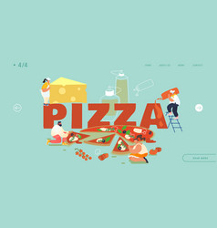 pizzeria bistro website landing page people vector image