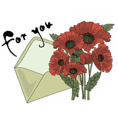 Poppy and letter cartoon clipart color vector