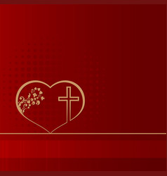 red design with heart and cross vector image