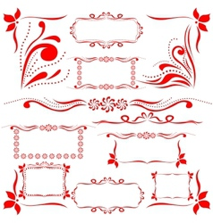 Red set of design elements vector