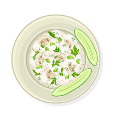 Rice with herbs and vegetable garnish served on vector