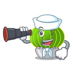 Sailor with binocular cartoon notocactus fuscus vector