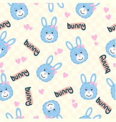 seamless cartoon texture with bunny and heart vector image
