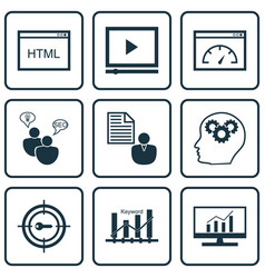 Set 9 seo icons includes video player keyword vector