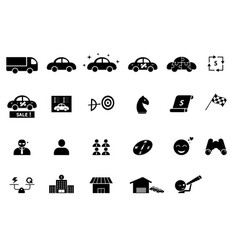 set car business icons and element vector image