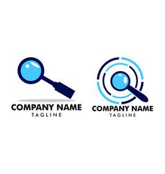 set magnifying glass logo template design vector image