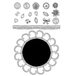 Set of sketch lace diamonds flowers leaves vector