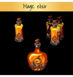 Set of vintage magic elixirs three bottles vector image