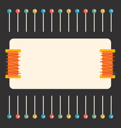 Sewing template with threads and pins vector