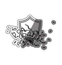 Shield broken abstract crest vector