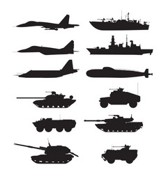 Silhouette of military machines support aircraft vector