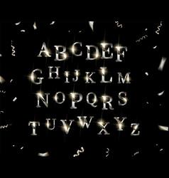 silver english alphabet vector image