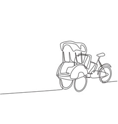 Single one line drawing pedicab with three wheels vector