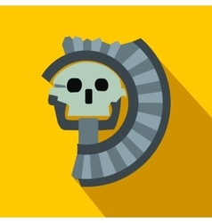 Skull the god of death of Aztecs icon flat style vector image