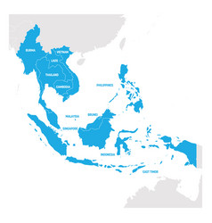 Southeast asia region map of countries in vector