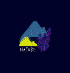 Space mountain lake nature vector