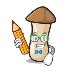 Student pleurotus erynggi mushroom character vector