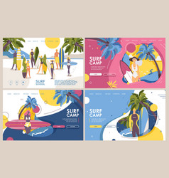 Surf camp or surfing school banners or landing vector