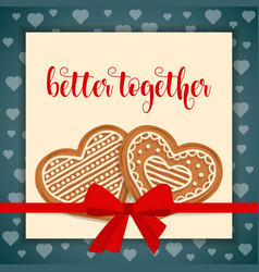 Sweet love card with gingerbread hearts vector