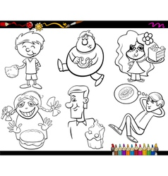 Sweets and kids coloring page set vector