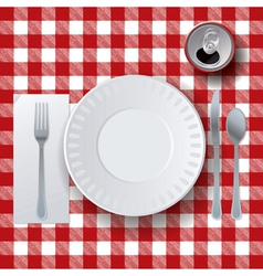 Table Cloth Picnic Placesetting vector