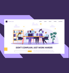 Teamwork in openspace office landing page template vector