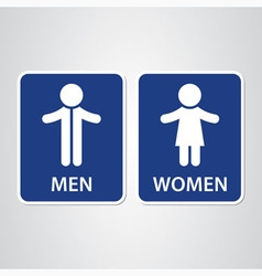 Toilet sign on blue background with text vector