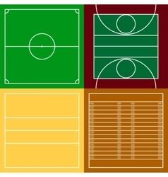 top view sport fields set vector image