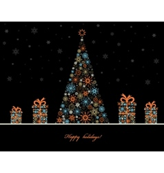 tree with gift boxes vector image