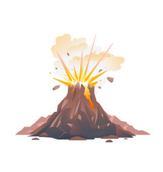 Volcano eruption isolated vector